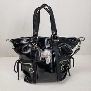 Coach Poppy Glam patent leather shoulder tote